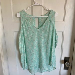 Old Navy mint and white sleeveless blouse size xl
